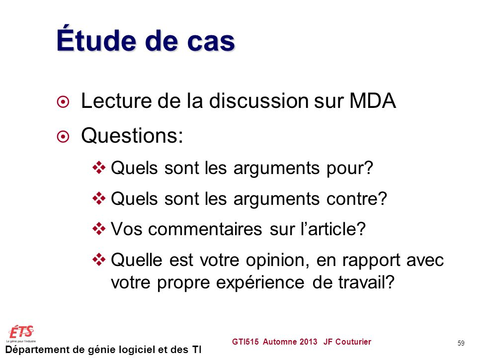Étude de cas Lecture de la discussion sur MDA Questions: