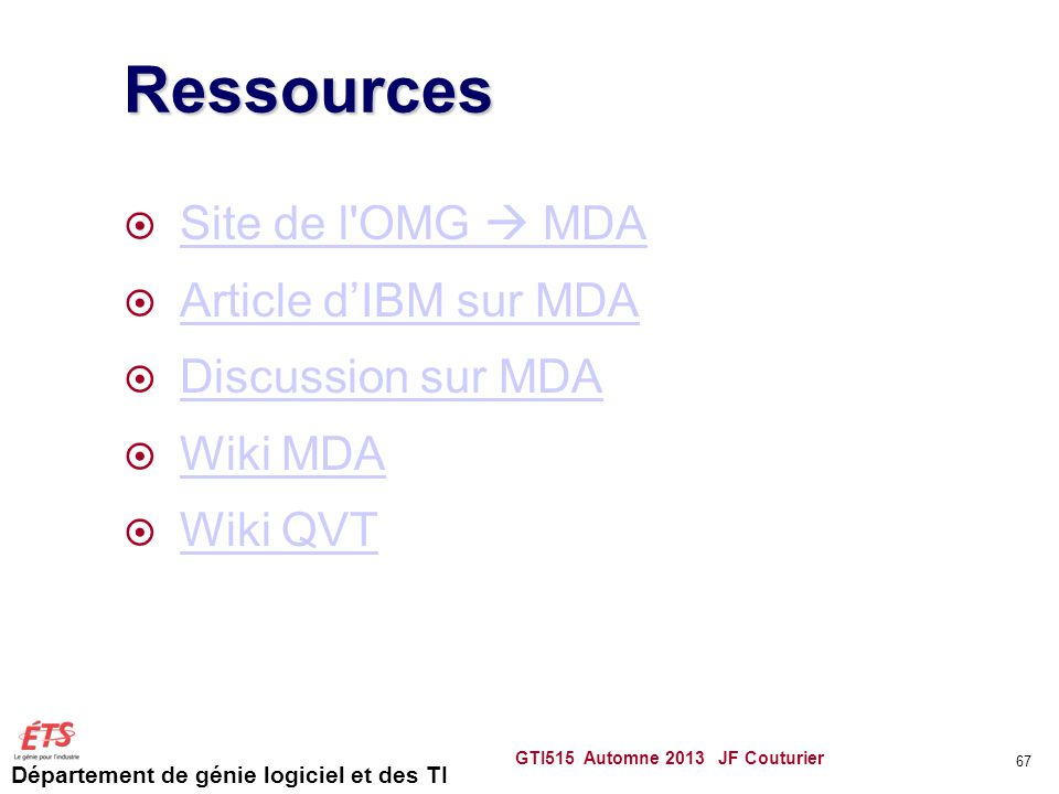 Ressources Site de l OMG  MDA Article d'IBM sur MDA