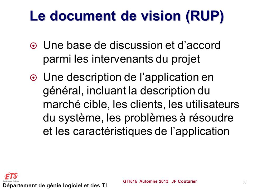 Le document de vision (RUP)