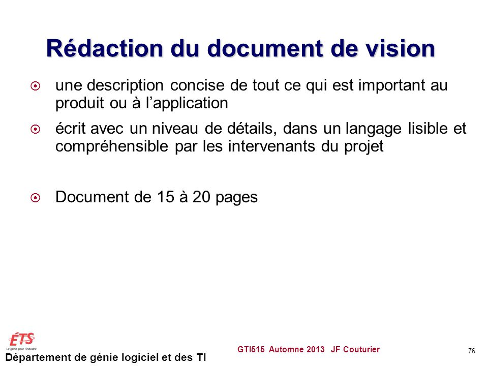 Rédaction du document de vision