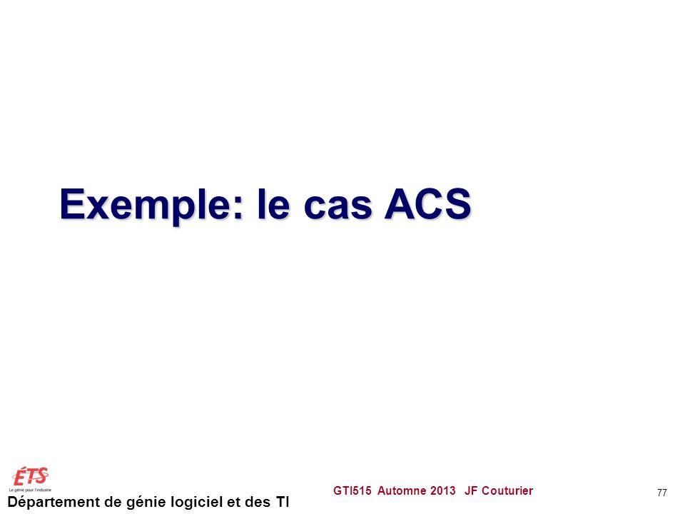 Exemple: le cas ACS GTI515 Automne 2013 JF Couturier