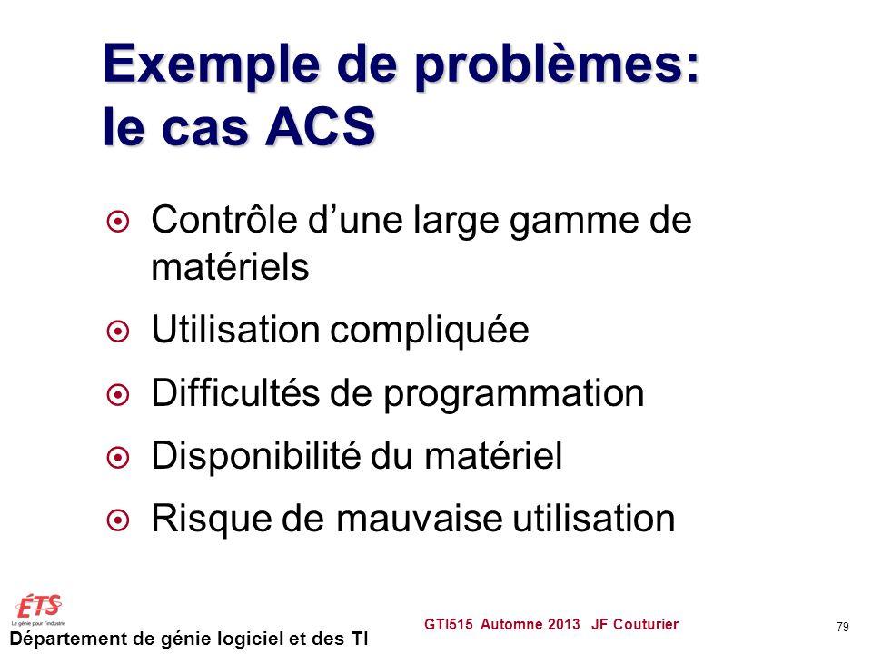Exemple de problèmes: le cas ACS