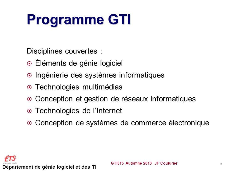 Programme GTI Disciplines couvertes : Éléments de génie logiciel