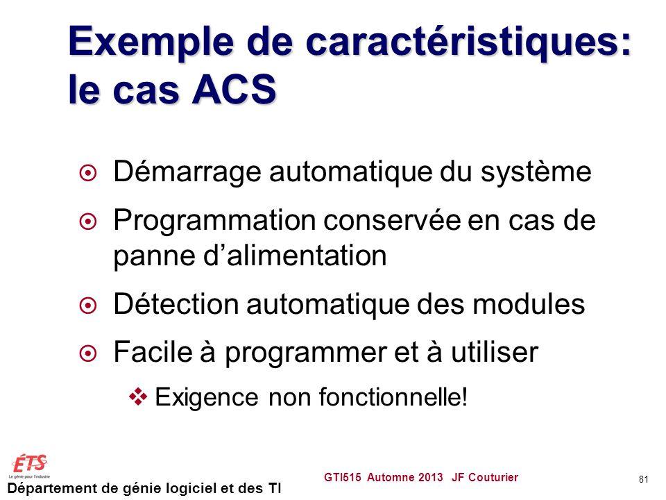 Exemple de caractéristiques: le cas ACS