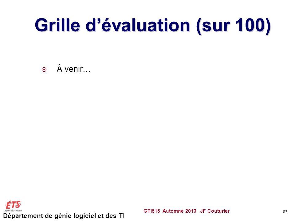 Grille d'évaluation (sur 100)