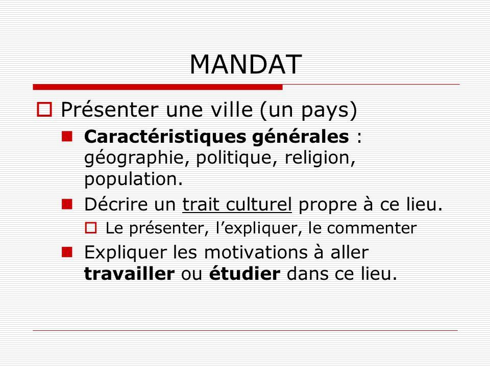 MANDAT Présenter une ville (un pays)