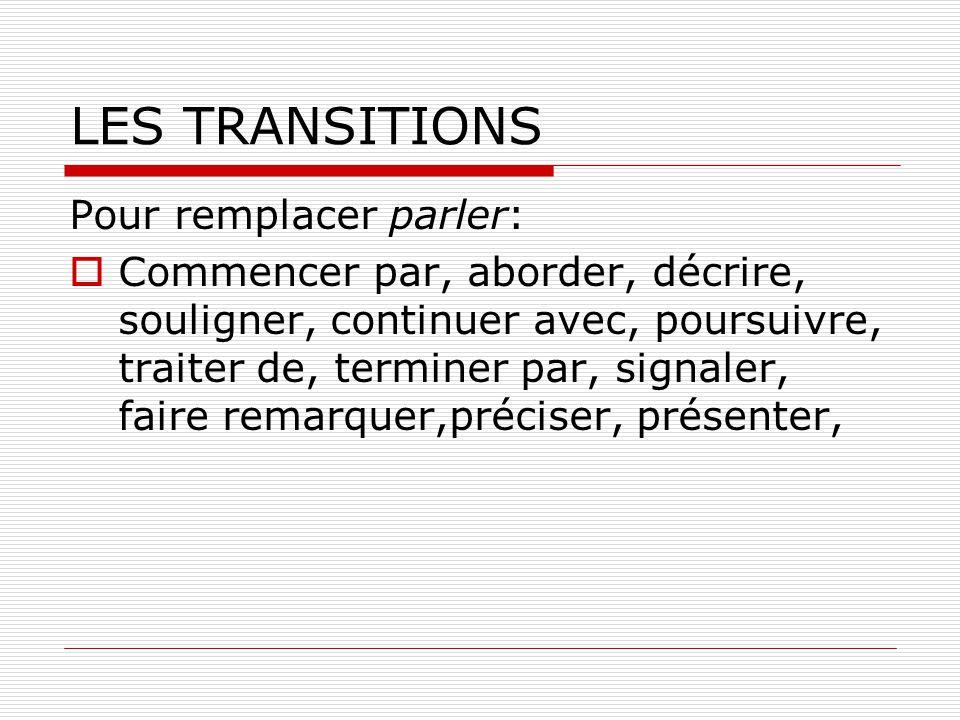 LES TRANSITIONS Pour remplacer parler: