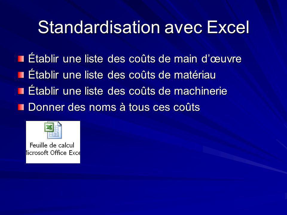 Standardisation avec Excel