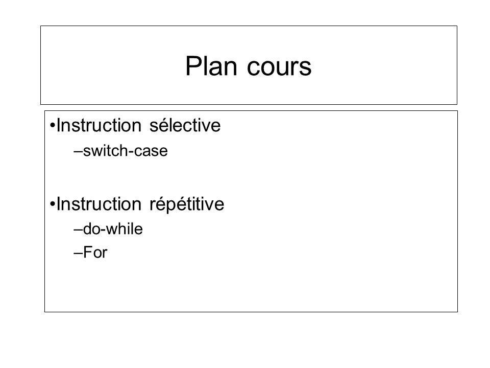 Instruction sélective switch-case Instruction répétitive do-while For