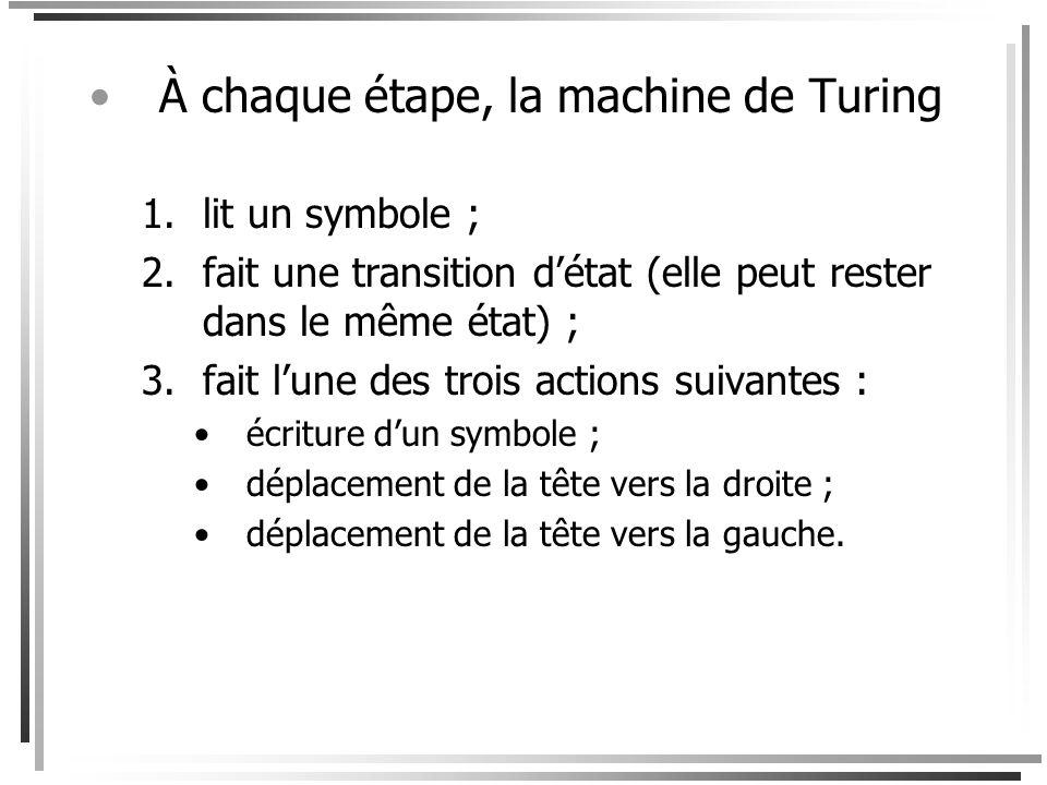 À chaque étape, la machine de Turing
