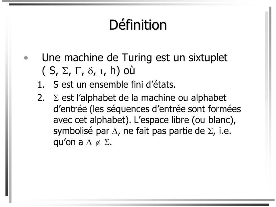 Définition Une machine de Turing est un sixtuplet ( S, , , , , h) où. S est un ensemble fini d'états.
