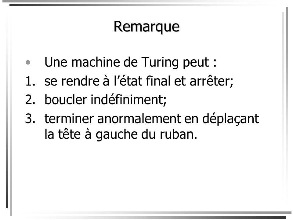 Remarque Une machine de Turing peut :