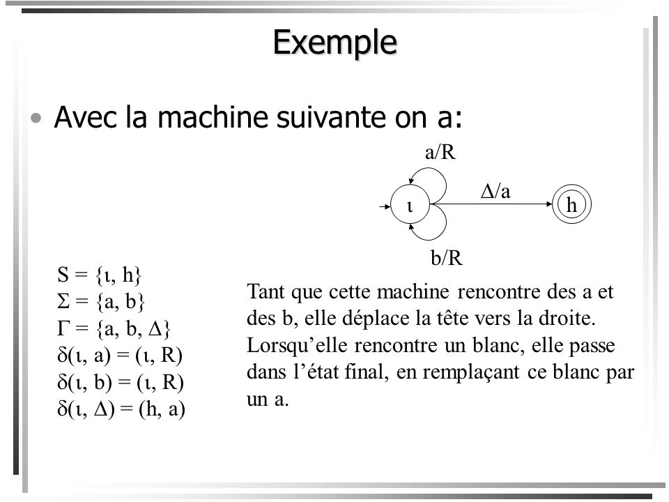 Exemple Avec la machine suivante on a: a/R /a  h b/R