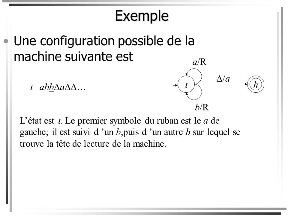 Exemple Une configuration possible de la machine suivante est a/R /a