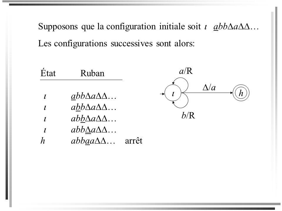 Supposons que la configuration initiale soit  abba…