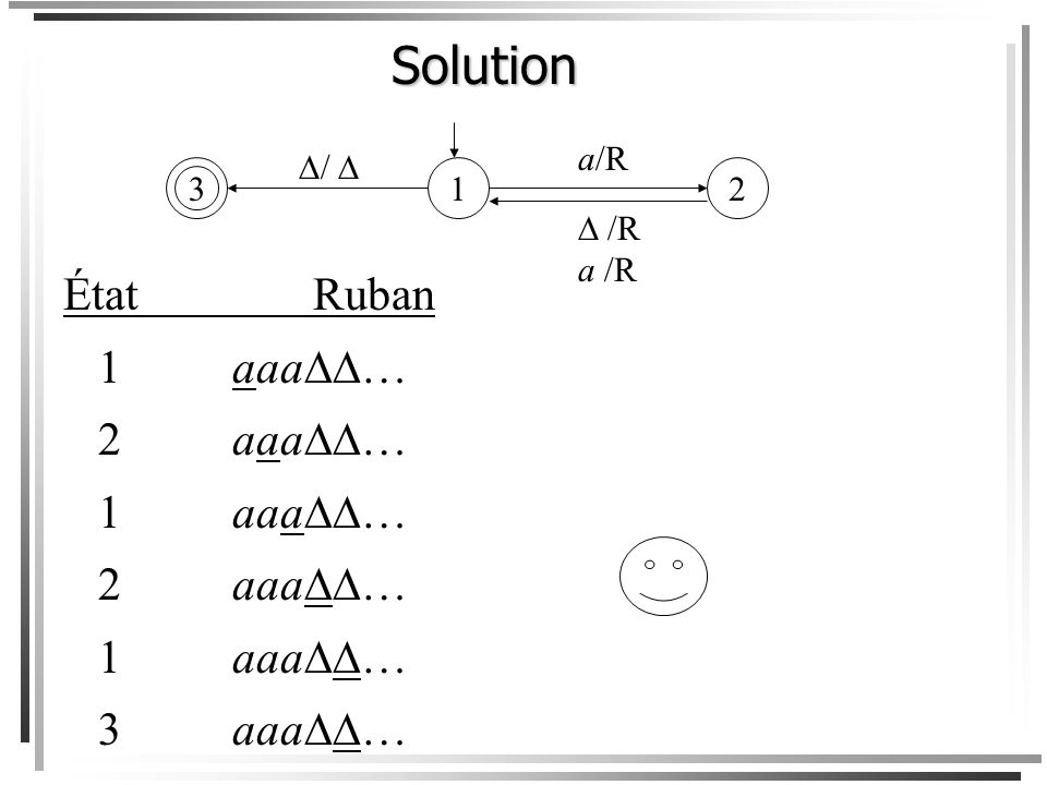 Solution État Ruban 1 aaa… 2 aaa… 3 aaa… 1 3 a/R  /R a /R / 