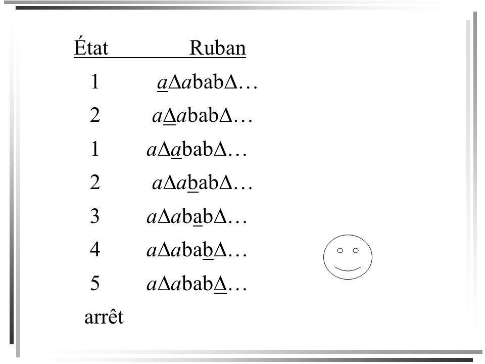 État Ruban 1 aabab… 2 aabab… 1 aabab… 3 aabab… 4 aabab… 5 aabab…