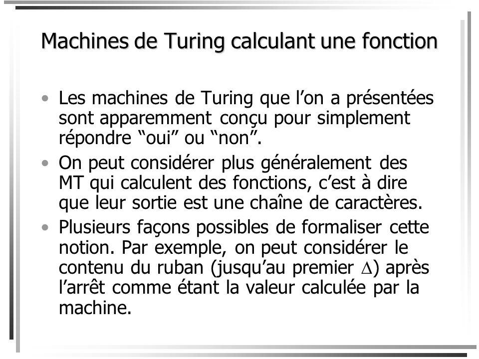 Machines de Turing calculant une fonction