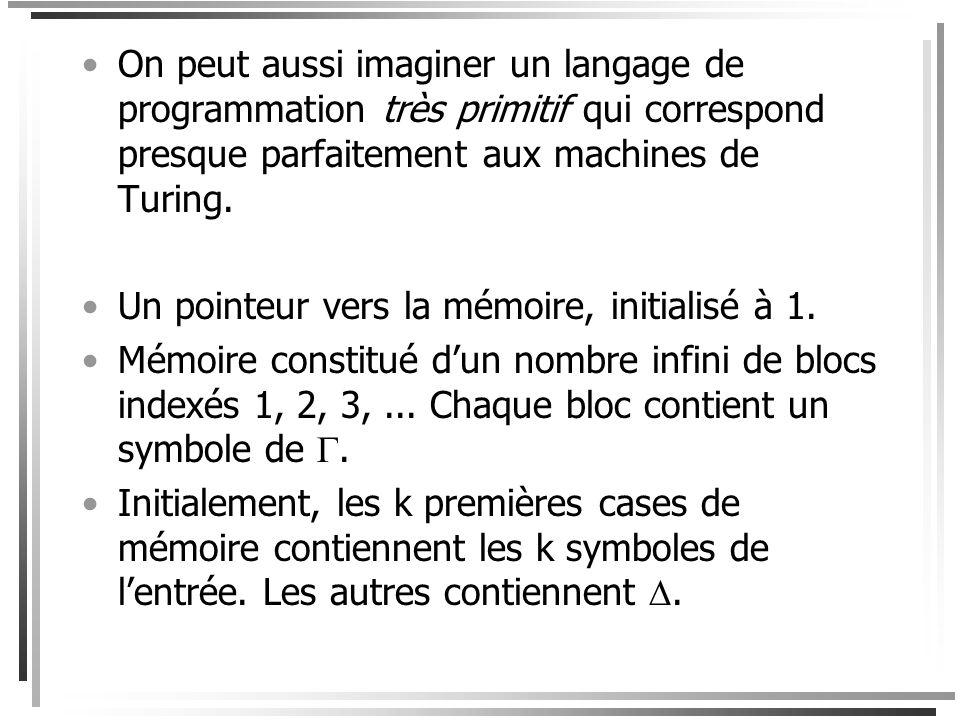 On peut aussi imaginer un langage de programmation très primitif qui correspond presque parfaitement aux machines de Turing.