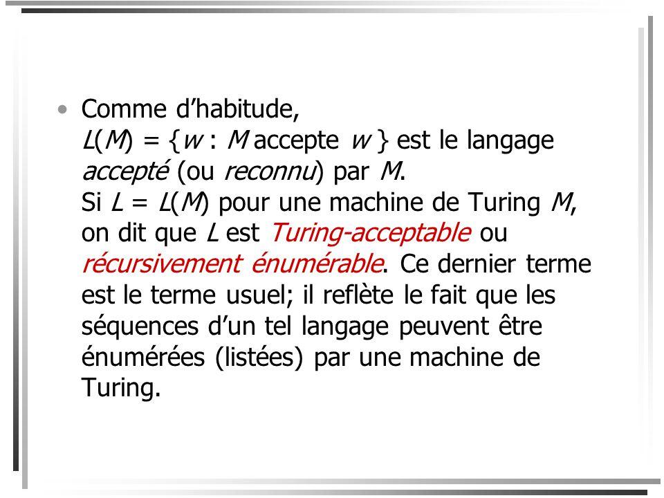 Comme d'habitude, L(M) = {w : M accepte w } est le langage accepté (ou reconnu) par M.