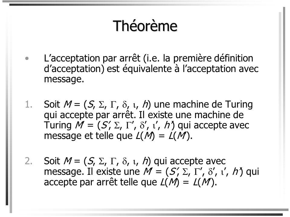 Théorème L'acceptation par arrêt (i.e. la première définition d'acceptation) est équivalente à l'acceptation avec message.