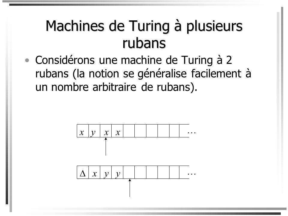 Machines de Turing à plusieurs rubans