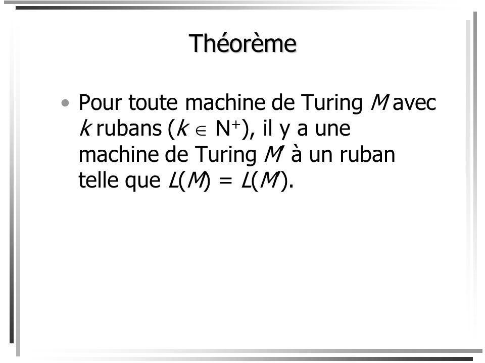 Théorème Pour toute machine de Turing M avec k rubans (k  N+), il y a une machine de Turing M' à un ruban telle que L(M) = L(M').