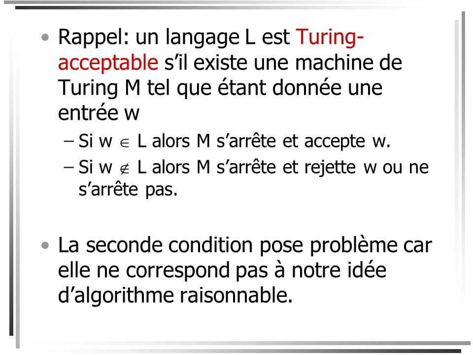 Rappel: un langage L est Turing-acceptable s'il existe une machine de Turing M tel que étant donnée une entrée w