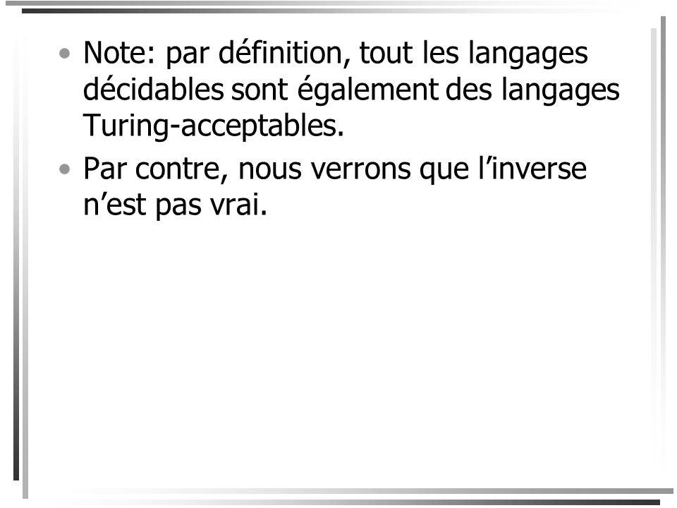 Note: par définition, tout les langages décidables sont également des langages Turing-acceptables.