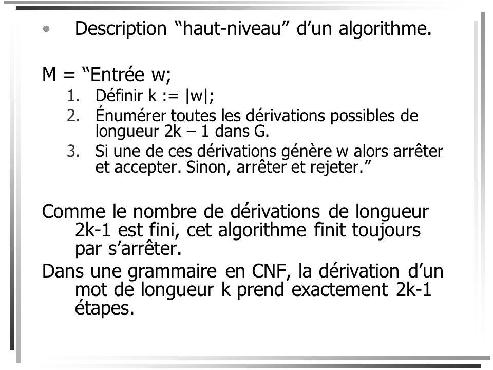 Description haut-niveau d'un algorithme. M = Entrée w;