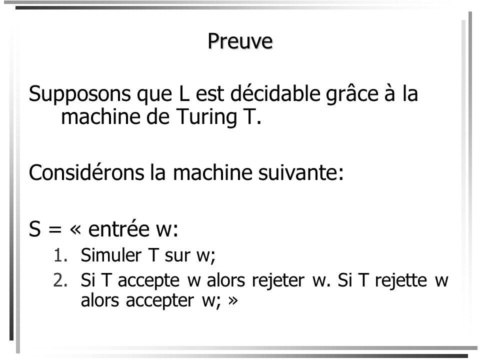 Supposons que L est décidable grâce à la machine de Turing T.
