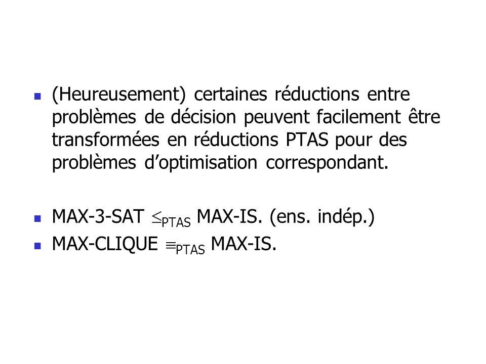 (Heureusement) certaines réductions entre problèmes de décision peuvent facilement être transformées en réductions PTAS pour des problèmes d'optimisation correspondant.