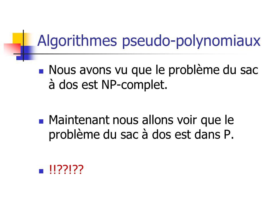 Algorithmes pseudo-polynomiaux