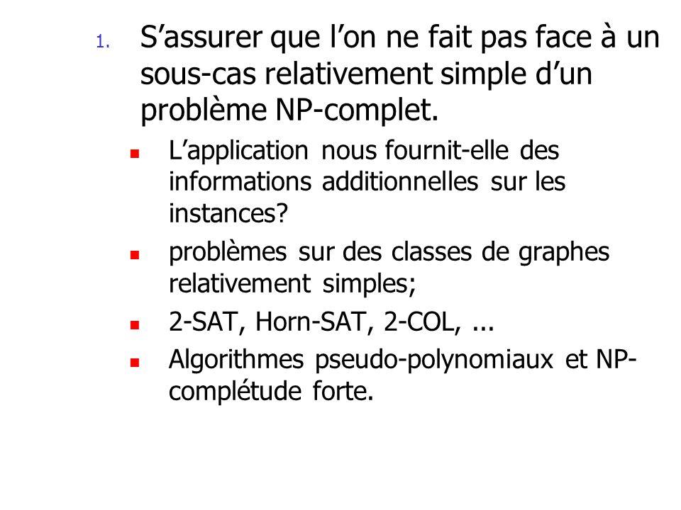 S'assurer que l'on ne fait pas face à un sous-cas relativement simple d'un problème NP-complet.