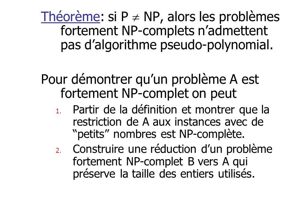 Pour démontrer qu'un problème A est fortement NP-complet on peut