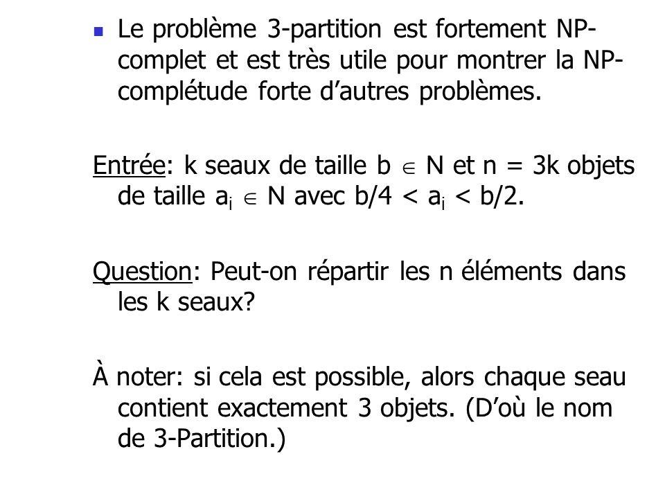 Le problème 3-partition est fortement NP-complet et est très utile pour montrer la NP-complétude forte d'autres problèmes.