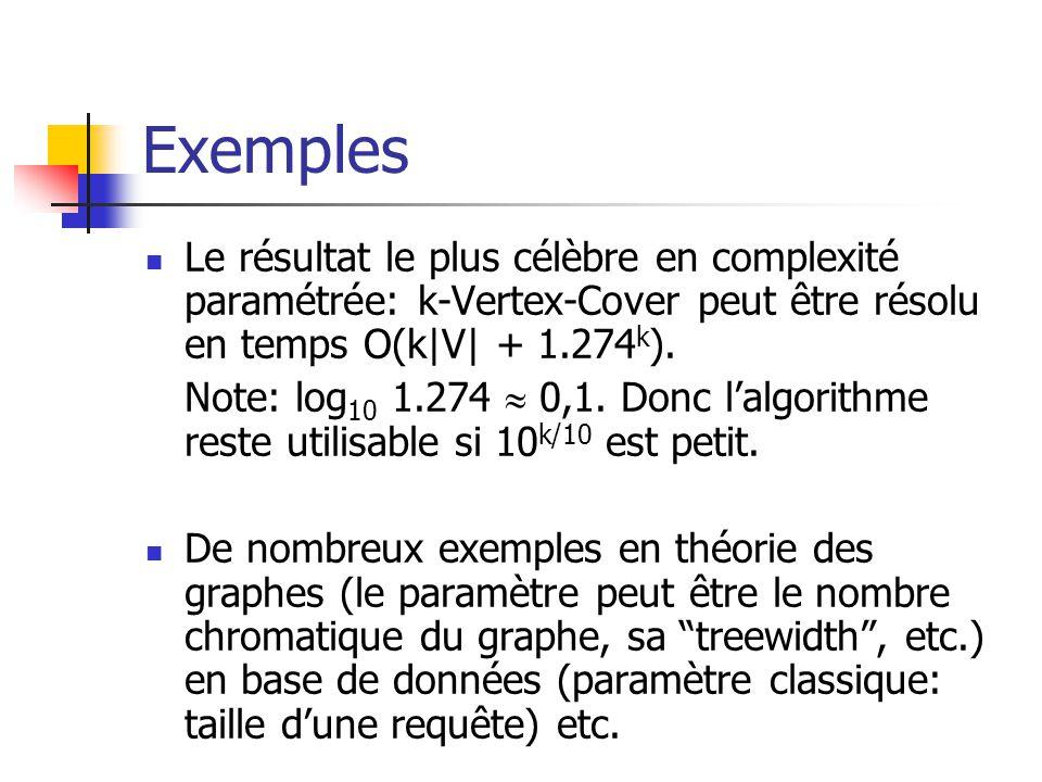 Exemples Le résultat le plus célèbre en complexité paramétrée: k-Vertex-Cover peut être résolu en temps O(k|V| + 1.274k).