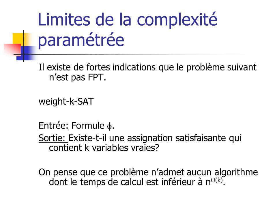 Limites de la complexité paramétrée