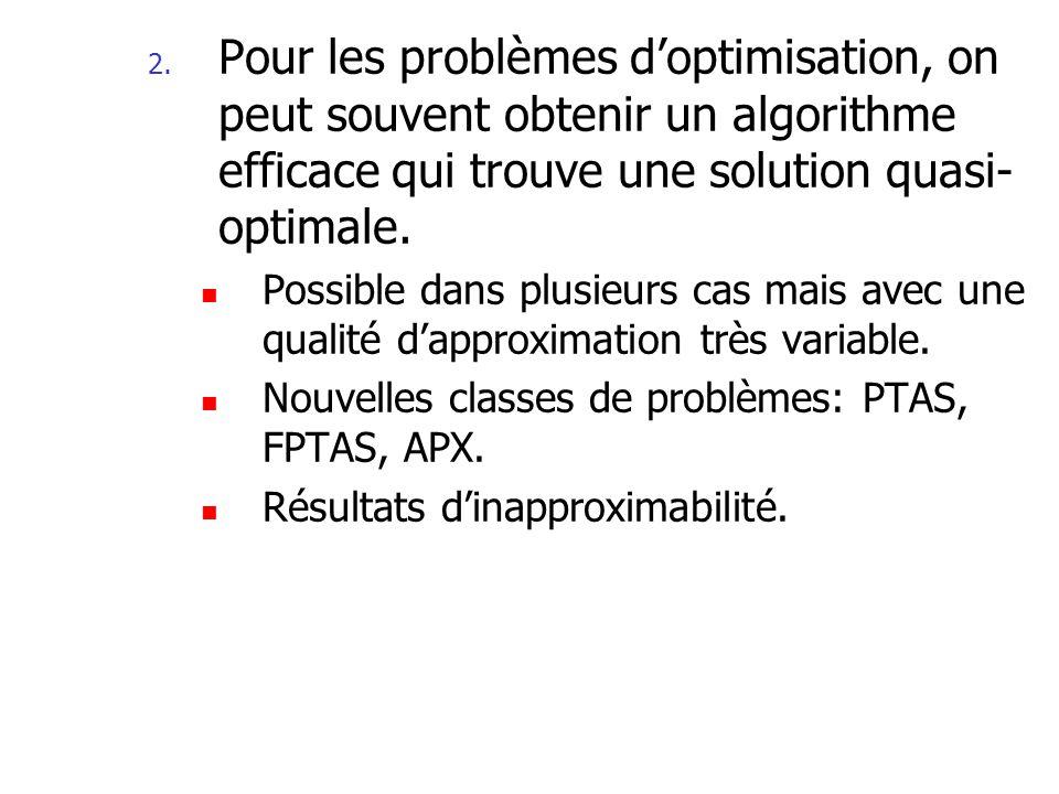 Pour les problèmes d'optimisation, on peut souvent obtenir un algorithme efficace qui trouve une solution quasi-optimale.