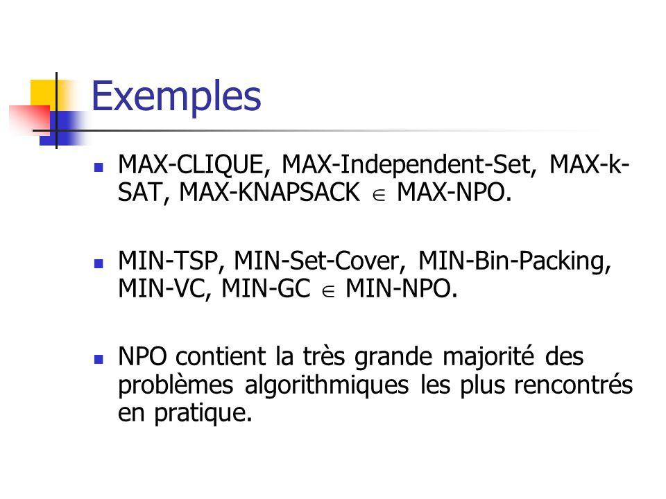 Exemples MAX-CLIQUE, MAX-Independent-Set, MAX-k-SAT, MAX-KNAPSACK  MAX-NPO. MIN-TSP, MIN-Set-Cover, MIN-Bin-Packing, MIN-VC, MIN-GC  MIN-NPO.