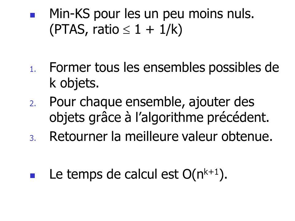 Min-KS pour les un peu moins nuls. (PTAS, ratio  1 + 1/k)