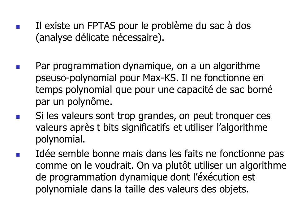 Il existe un FPTAS pour le problème du sac à dos (analyse délicate nécessaire).