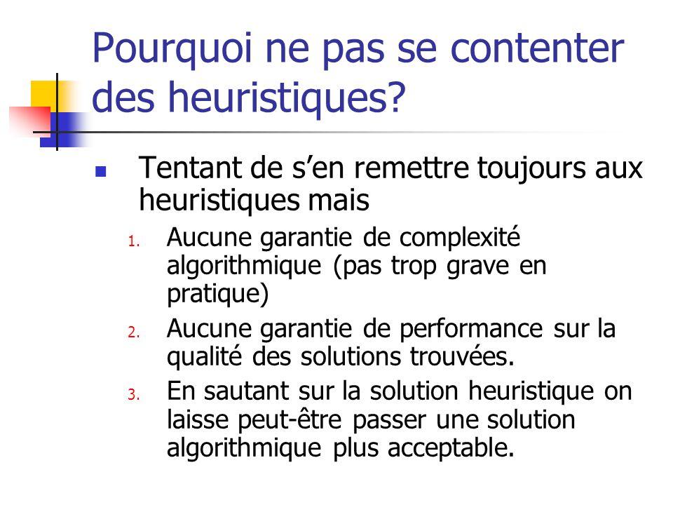 Pourquoi ne pas se contenter des heuristiques