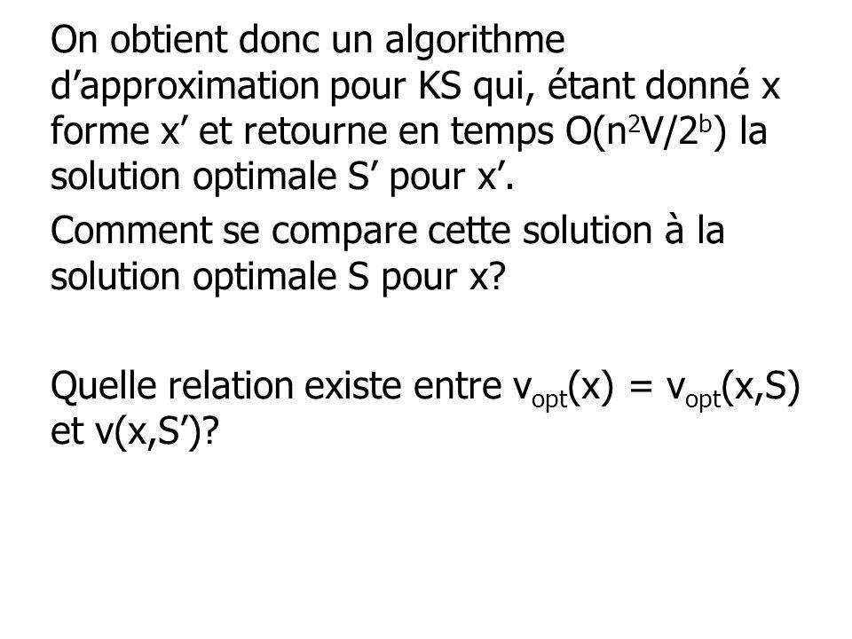 On obtient donc un algorithme d'approximation pour KS qui, étant donné x forme x' et retourne en temps O(n2V/2b) la solution optimale S' pour x'.