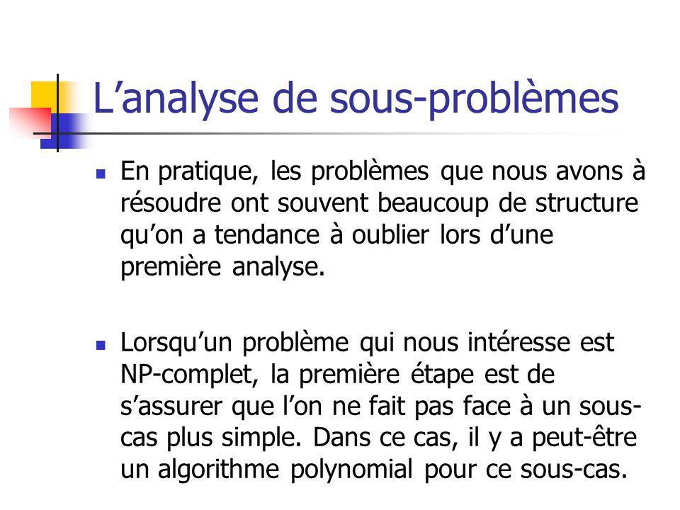 L'analyse de sous-problèmes