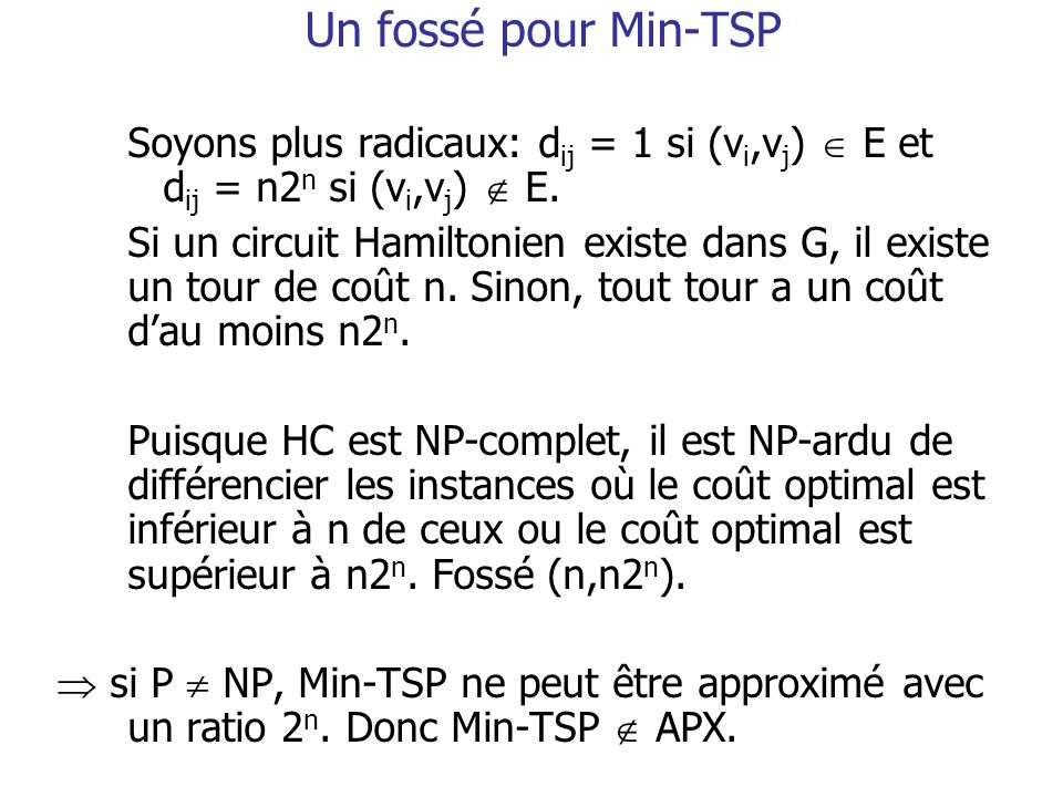 Un fossé pour Min-TSP Soyons plus radicaux: dij = 1 si (vi,vj)  E et dij = n2n si (vi,vj)  E.