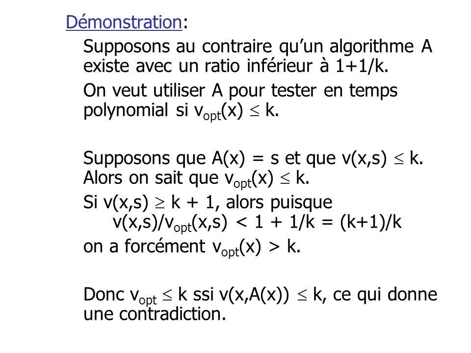 Démonstration: Supposons au contraire qu'un algorithme A existe avec un ratio inférieur à 1+1/k.