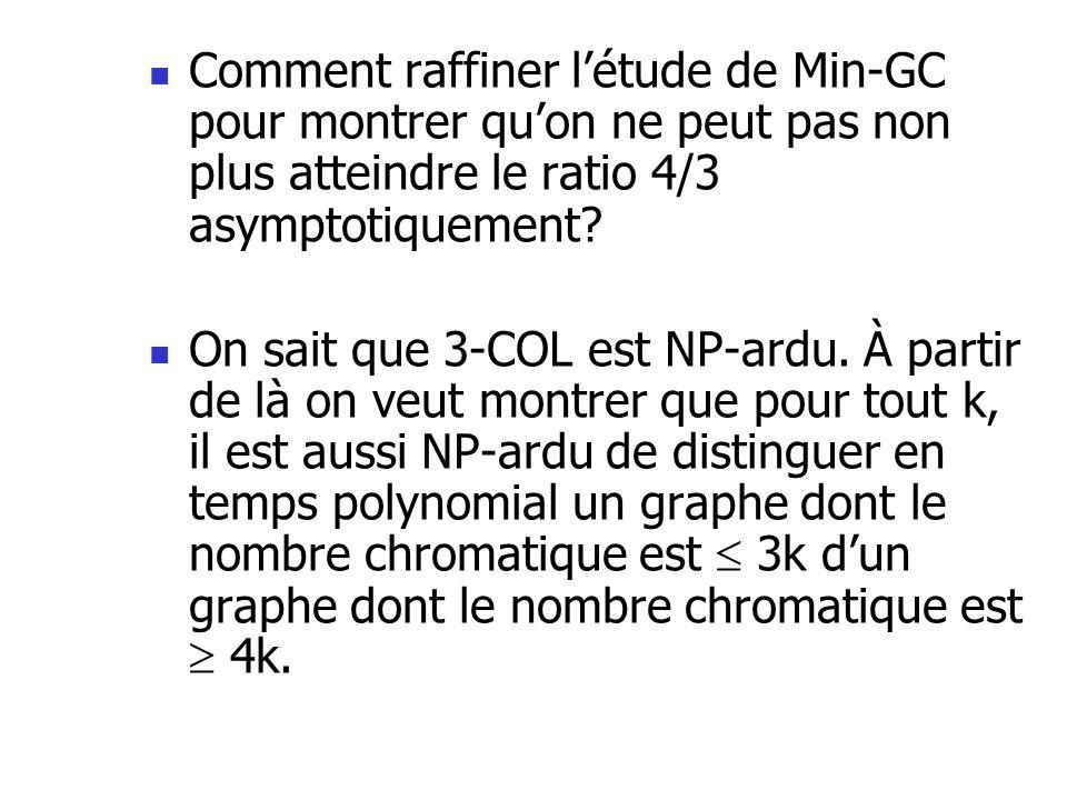 Comment raffiner l'étude de Min-GC pour montrer qu'on ne peut pas non plus atteindre le ratio 4/3 asymptotiquement