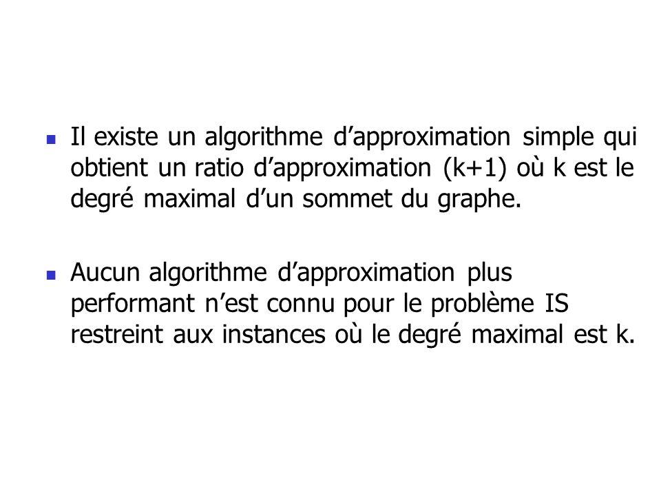 Il existe un algorithme d'approximation simple qui obtient un ratio d'approximation (k+1) où k est le degré maximal d'un sommet du graphe.