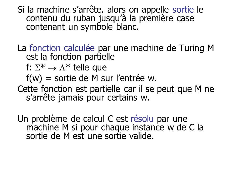 Si la machine s'arrête, alors on appelle sortie le contenu du ruban jusqu'à la première case contenant un symbole blanc.
